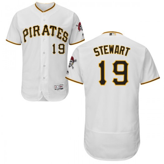 Men's Majestic Chris Stewart Pittsburgh Pirates Player Replica White Home Flex Base Collection Jersey